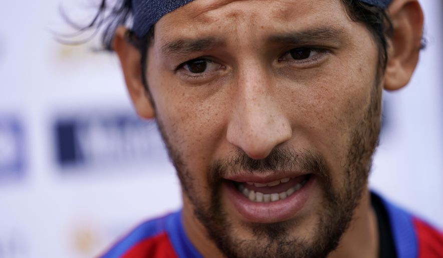 United States' Omar Gonzalez speaks with members of the media at the University of Pennsylvania in Philadelphia, Tuesday, July 18, 2017. The 6-foot-5 defender has become a regular part of the player pool for the United States, which plays El Salvador on Wednesday in a CONCACAF Gold Cup soccer quarterfinal. (AP Photo/Matt Rourke)