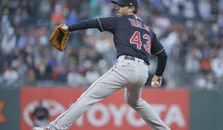 Cleveland Indians starting pitcher Josh Tomlin works in the first inning of the team's baseball game against the San Francisco Giants on Monday, July 17, 2017, in San Francisco. (AP Photo/Eric Risberg)