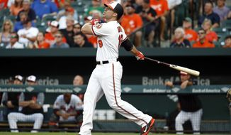 Baltimore Orioles' Chris Davis watches his two-run home run in the first inning of a baseball game against the Texas Rangers in Baltimore, Tuesday, July 18, 2017. (AP Photo/Patrick Semansky)