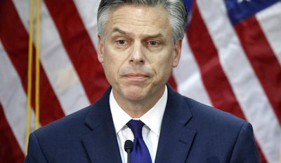 FILE - In this Jan. 16, 2012, file photo, former then-Utah Gov. Jon Huntsman speaks in Myrtle Beach, S.C., as he ends his campaign for president. The White House says that President Donald Trump is nominating Huntsman as ambassador to Russia.  (AP Photo/Charles Dharapak, File)