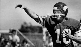 FILE - In this Aug. 9, 1978, file photo, Minnesota Vikings quarterback Fran Tarkenton passes at training camp in Mankato, Minn. The Minnesota Vikings say the 52nd training camp in Mankato will be their last one away from headquarters. The Vikings announced on Tuesday, July 18, 2017, that they plan to hold training camp at their new practice facility in the Twin Cities suburb of Eagan starting in 2018. (AP Photo/Jim Mone, File)