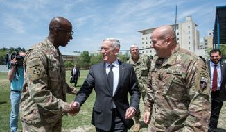 Secretary of Defense James Mattis (center) made the rounds on Capitol Hill Wednesday to brief lawmakers on the White House strategy for Afghanistan, which, at 16 years of conflict, is America's longest war. (Department of Defense)