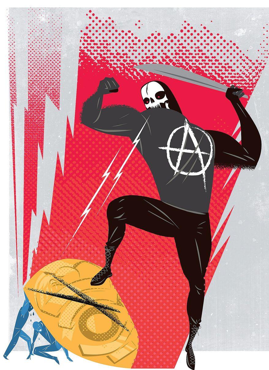 Illustration on the homicidal spirit behind police killings by Linas Garsys/The Washington Times