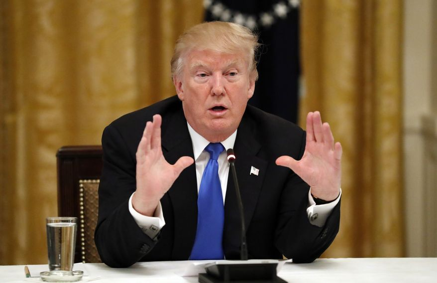 """President Donald Trump speaks during a """"Made in America,"""" roundtable event in the East Room of the White House, Wednesday, July 19, 2017, in Washington. (AP Photo/Alex Brandon)"""