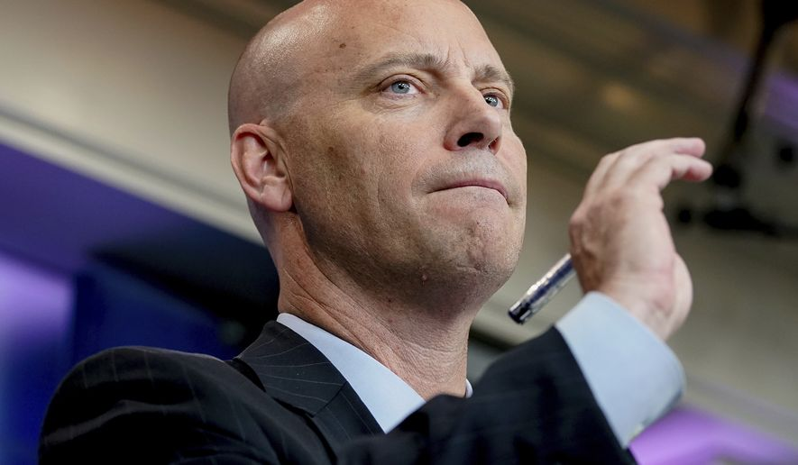 White House legislative director Marc Short takes a question from the media about the GOP Senate healthcare bill during the daily press briefing at the White House in Washington, Wednesday, July 19, 2017. (AP Photo/Andrew Harnik)