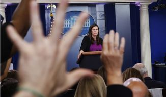 White House press secretary Sarah Huckabee Sanders fields questions from reporters during the daily briefing,  at the White House in Washington. (AP Photo/Jacquelyn Martin)