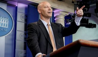 White House legislative director Marc Short takes a question from the media about the GOP Senate health care bill during the daily press briefing at the White House in Washington, Wednesday, July 19, 2017. (AP Photo/Andrew Harnik) ** FILE **