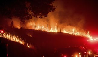Flames from a backfire burn as CalFire crews battle the wildfires near Mariposa, Calif., on Tuesday, July 18, 2017.  Record rain and snowfall in the mountains this winter was celebrated for bringing California's five-year drought to its knees, but it has turned into a challenge for firefighters battling flames feeding on dense vegetation, officials said.  (AP Photo/Noah Berger)