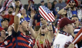 United States fans cheer before a CONCACAF Gold Cup quarterfinal soccer match against El Salvador, in Philadelphia, Wednesday, July 19, 2017. (AP Photo/Matt Rourke)