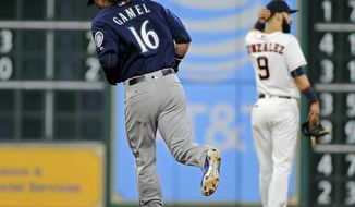 Seattle Mariners' Ben Gamel (16) rounds the bases after hitting a two-run home run off Houston Astros starting pitcher Charlie Morton during the fourth inning of a baseball game, Wednesday, July 19, 2017, in Houston. (AP Photo/Eric Christian Smith)