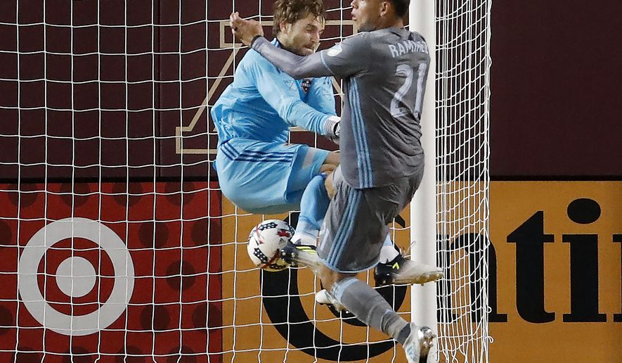Minnesota United's Christian Ramirez (21) collides with Houston Dynamo goalie Tyler Deric during the second half of an MLS soccer match Wednesday, June 19, 2017, in Minneapolis. (Carlos Gonzalez/Star Tribune via AP)