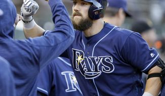 Tampa Bay Rays' Steven Souza Jr. celebrates after hitting a home run off Oakland Athletics' Chris Smith during the third inning of a baseball game Tuesday, July 18, 2017, in Oakland, Calif. (AP Photo/Ben Margot)