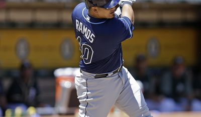 Tampa Bay Rays' Wilson Ramos swings for an RBI single off Oakland Athletics' Sonny Gray in the fourth inning of a baseball game Wednesday, July 19, 2017, in Oakland, Calif. (AP Photo/Ben Margot)