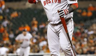 FILE - In this Sept. 15, 2015, file photo, Boston Red Sox's Pablo Sandoval removes his helmet and walks out of the batter's box after striking out swinging to end the top of the sixth inning of a baseball game against the Baltimore Orioles in Baltimore. The Red Sox on Wednesday, July 19, 2017, have released Sandoval because the third baseman didn't report after being designated for assignment last week. It officially ends the Boston tenure for the once-celebrated free agent, who never was healthy enough to live up to the expectations that came with the $95 million contract he signed in 2014.(AP Photo/Patrick Semansky, File)