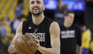FILE - In this May 16, 2017, file photo, San Antonio Spurs' Manu Ginobili warms up for Game 2 of the the team's NBA basketball Western Conference final against the Golden State Warriors, in Oakland, Calif. Ginobili announced on Wednesday, July 19, 2017, that he will play a 16th season with the Spurs. The Argentine guard who turns 40 next week made the announcement with a brief message on his Twitter account. (AP Photo/Marcio Jose Sanchez, File)