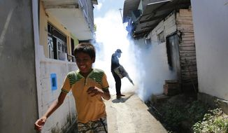 FILE - In this July 4, 2017 file photo, a Sri Lankan municipal worker fumigates during Dengue fever irradiation work in Colombo, Sri Lanka. Australia is contributing funds to help Sri Lanka combat its worst outbreak of dengue fever, which has claimed 250 lives and infected nearly 100,000 people so far this year in the Indian Ocean island nation.Visiting Foreign Minister Julie Bishop said Wednesday night, July 19, 2017,  that Australia is giving 475,000 Australian dollars (US $377,000) to the World Health Organization to implement immediate dengue prevention, management and eradication programs in Sri Lanka. (AP Photo/Eranga Jayawardena, File)
