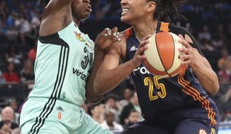 New York Liberty center Tina Charles (31) guards Connecticut Sun forward Alyssa Thomas (25) during the first half of a WNBA basketball game, Wednesday, July 19, 2017 at Madison Square Garden in New York. (AP Photo/Mary Altaffer)