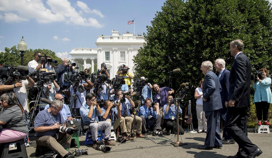 From left, Senate Majority Leader Mitch McConnell of Ky., Senate Majority Whip John Cornyn of Texas., and Sen. John Thune, R-S.D., speaks to members of the media outside of the West Wing of the White House in Washington, Wednesday, July 19, 2017, following a luncheon with President Donald Trump and other GOP leadership. (AP Photo/Andrew Harnik)