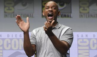 "Will Smith reacts at the Netflix Films' ""Bright"" panel on day one of Comic-Con International on Thursday, July 20, 2017, in San Diego. (Photo by Al Powers/Invision/AP)"
