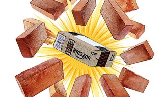 Amazon Busts Through the Bricks and Mortar Illustration by Greg Groesch/The Washington Times