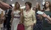 Sen. Susan Collins, R-Maine, heads to the chamber for a vote, on Capitol Hill in Washington, Thursday, July 20, 2017. Majority Leader Mitch McConnell is spurring Republican senators to resolve internal disputes that have pushed their marquee health care bill to the brink of oblivion, a situation made more difficult for the GOP because of Sen. John McCain's jarring diagnosis of brain cancer. (AP Photo/J. Scott Applewhite)