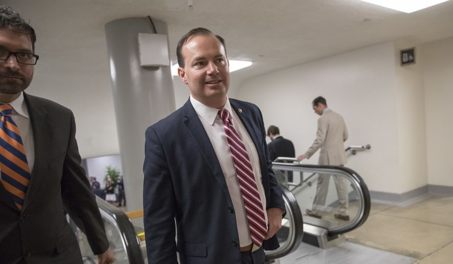 Sen. Mike Lee, R-Utah, an opponent of the GOP health care bill, heads to the chamber for a vote, on Capitol Hill in Washington, Thursday, July 20, 2017. (AP Photo/J. Scott Applewhite) ** FILE **