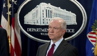 Attorney General Jeff Sessions attends a news conference to announce an international cybercrime enforcement action at the Department of Justice, Thursday, July 20, 2017, in Washington. (AP Photo/Andrew Harnik)
