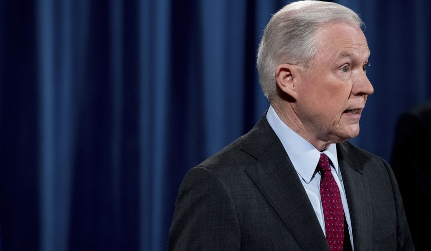 Attorney General Jeff Sessions speaks at a news conference to announce an international cybercrime enforcement action at the Department of Justice, Thursday, July 20, 2017, in Washington. (AP Photo/Andrew Harnik)
