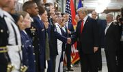 President Donald Trump and Vice President Mike Pence greet military personnel during their visit to the Pentagon, Thursday,July 20, 2017. Looking on is Defense Secretary Jim Mattis, right. (AP Photo/Pablo Martinez Monsivais)