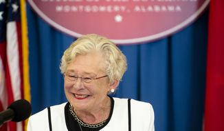 Alabama Gov. Kay Ivey speaks during a press conference held on her 101st day as governor, Thursday, July 20, 2017, in Montgomery, Ala. (Albert Cesare/The Montgomery Advertiser via AP)