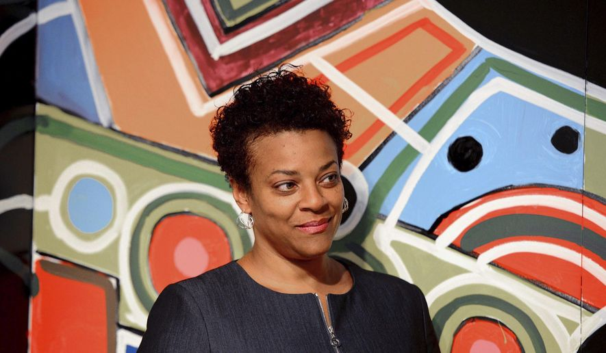 Janis Burley Wilson is introduced as the new president and CEO of the August Wilson Center in Pittsburgh, Pa., Thursday, July 20, 2017. The August Wilson Center for African American Culture is a U.S. nonprofit arts organization that presents theater and music performances and visual arts programs. (Lake Fong/Pittsburgh Post-Gazette via AP)