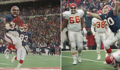 FILE - At left, in a Jan. 15, 1994, file photo, Buffalo Bills' Thurman Thomas (34) jumps in the air as he celebrates his second quarter touchdown against the Los Angeles Raiders, in Orchard Park, N.Y. At right, in a Jan. 23, 1994, file photo,  Buffalo Bills' Phil Hansen (90) celebrates his fourth quarter sack of Kansas City Chiefs quarterback Dave Krieg (17) during the AFC Championship at Rich Stadium in Orchard Park, N.Y.  What had been the AFC's winningest team of the 1990s, the Bills have spent the new millennium relegated to afterthought status, compiling the longest active playoff drought in North America's four professional sports. (AP Photo/Bill Sikes)
