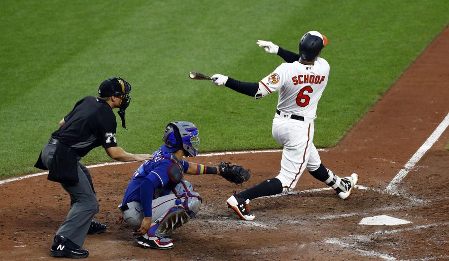 Baltimore Orioles' Jonathan Schoop watches a solo home run in front of Texas Rangers catcher Robinson Chirinos and home plate umpire Bob Davidson during the fourth inning of a baseball game in Baltimore, Thursday, July 20, 2017. (AP Photo/Patrick Semansky)