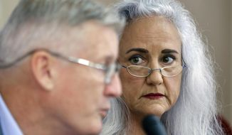 Marc and Debra Tice, the parents of Austin Tice, who is missing in Syria for nearly five years, speak during a press conference, at the Press Club, in Beirut, Lebanon, Thursday, July 20, 2017. The Tices said Thursday that the U.S. and Syrian governments have assured them that they are doing all they can to secure his safe release adding that they are ready to deal with any government or group that will help them win the freedom of their son. (AP Photo/Bilal Hussein)