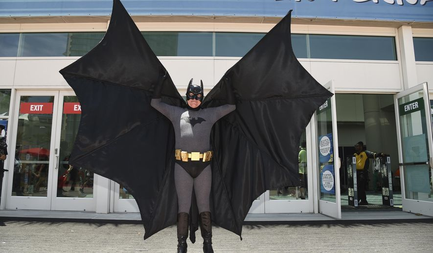 Howard Gemsler of Irvine, dresses as Batman on day 1 of Comic-Con International on Thursday, July 20, 2017, in San Diego. (Photo by Richard Shotwell/Invision/AP)
