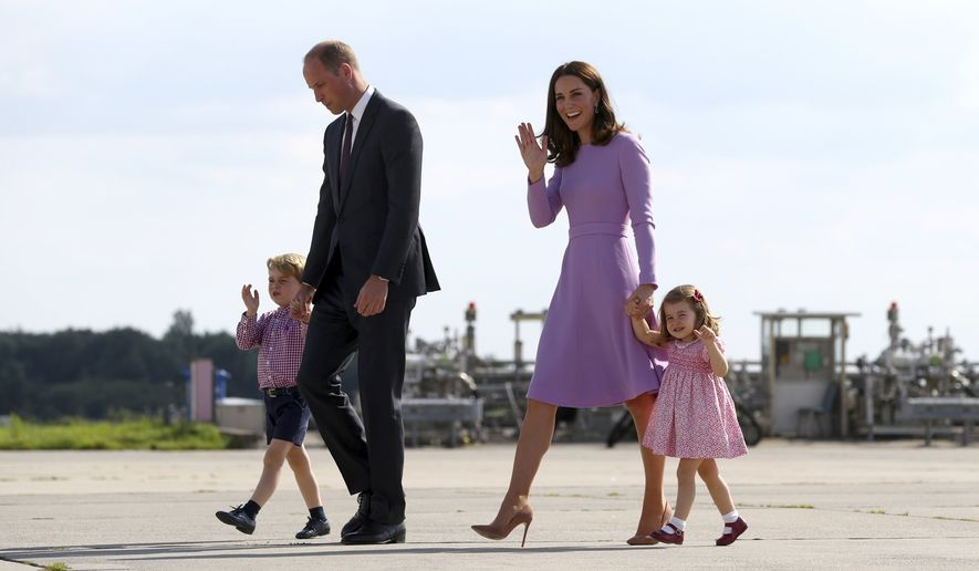 Britain's Prince William, second left, and his wife Kate, the Duchess of Cambridge, second right, and their children, Prince George, left, and Princess Charlotte, right, board a plane  in Hamburg, Germany, Friday, July 21, 2017. Britain's Prince William and his wife Kate, and their children Prince George and Princess Charlotte stayed for thee days in Germany and visited Berlin, Heidelberg and Hamburg. ( Christian Charisius/Pool Photo via AP)