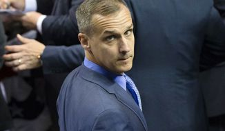 FILE - In this April 18, 2016 file photo, Corey Lewandowski, campaign manager for Republican presidential candidate Donald Trump, appears at a campaign stop at the First Niagara Center in Buffalo, N.Y. Lewandowski, President Donald Trump's former campaign manager has filed a $5 million lawsuit against his New Hampshire neighbors over access to a pond-front property, Friday, July 21, 2017. (AP Photo/John Minchillo, File)