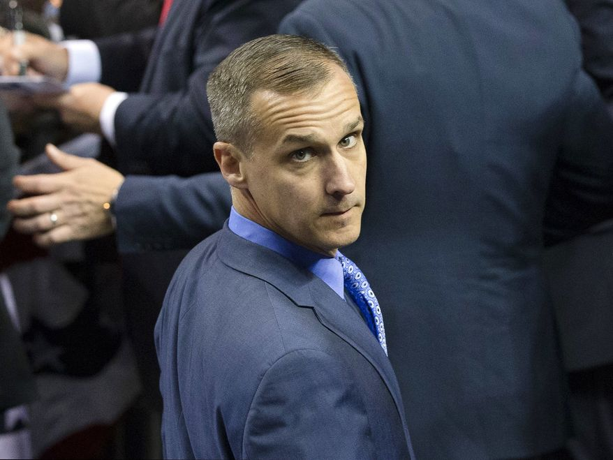 In this April 18, 2016 file photo, Corey Lewandowski, campaign manager for Republican presidential candidate Donald Trump, appears at a campaign stop at the First Niagara Center in Buffalo, N.Y. (AP Photo/John Minchillo, File)