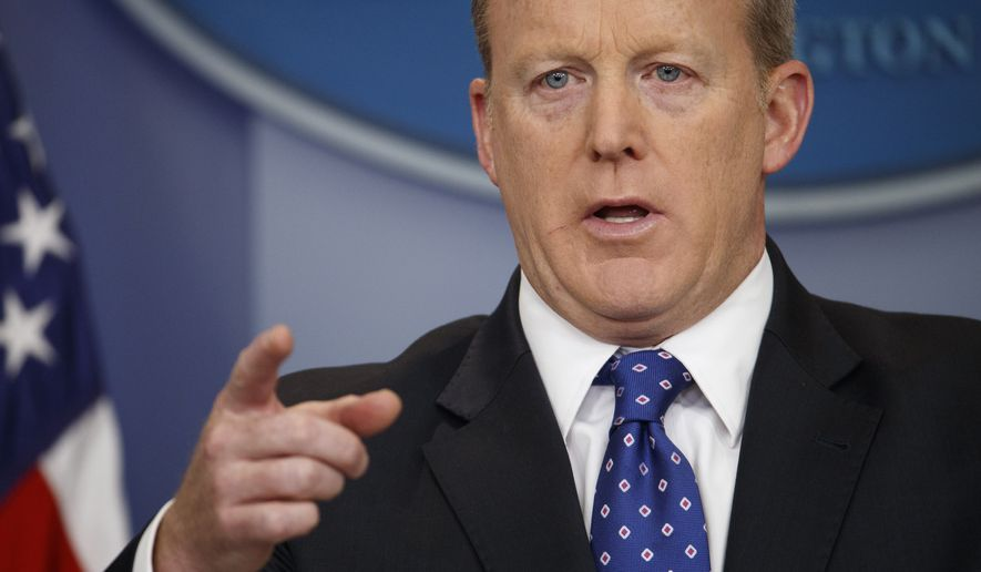 In this May 9, 2017, file photo, White House press secretary Sean Spicer speaks during the daily press briefing at the White House in Washington. (AP Photo/Evan Vucci, File)