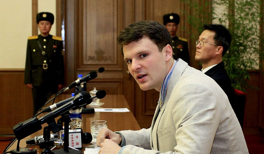 In this Feb. 29, 2016, file photo, U.S. student Otto Warmbier speaks to reporters in Pyongyang, North Korea. U.S. officials say the Trump administration will ban American citizens from traveling to North Korea following the death of university student Otto Warmbier, who passed away after falling into a coma into a North Korean prison. (AP Photo/Kim Kwang Hyon) ** FILE **