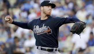Atlanta Braves starting pitcher Mike Foltynewicz throws against the Los Angeles Dodgers during the first inning of a baseball game in Los Angeles, Thursday, July 20, 2017. (AP Photo/Chris Carlson)