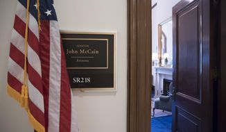 The Capitol Hill office of Sen. John McCain, R-Ariz., is seen in Washington, Thursday, July 20, 2017, after news that he has been diagnosed with brain cancer. A member of Congress for more than three decades, McCain was the 2008 Republican presidential nominee and a Vietnam prisoner of war. (AP Photo/J. Scott Applewhite)