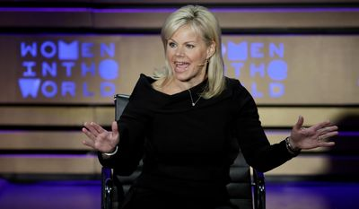 FILE - In this April 6, 2017, file photo, former Fox News person Gretchen Carlson speaks during the Women in the World Summit at Lincoln Center in New York. The AP reported July 21, 2017, that a story claiming Carlson said the Second Amendment was written before guns were invented is a hoax.(AP Photo/Richard Drew, File)