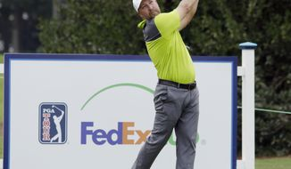 Chad Collins hits from the 17th tee during the second round of the Barbasol Championship golf tournament at Grand National Golf Course in Opelika, Ala., Friday, July 21, 2017. Collins missed a chance for the 10th sub-60 round in PGA Tour history and third of the season, parring the final two holes for an 11-under 60. (Todd J. Van Emst/Opelika-Auburn News via AP)
