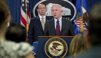 Attorney General Jeff Sessions accompanied by Deputy Attorney General Rod Rosenstein, left, speaks at a news conference to announce an international cybercrime enforcement action at the Department of Justice, Thursday, July 20, 2017, in Washington. (AP Photo/Andrew Harnik)