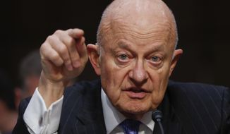 In this Monday, May 8, 2017, file photo, former National Intelligence Director James Clapper testifies on Capitol Hill in Washington. (AP Photo/Pablo Martinez Monsivais, File)
