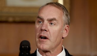 "In this April 26, 2017, file photo, Interior Secretary Ryan Zinke speaks at the Interior Department in Washington, before President Donald Trump signed an Antiquities Executive Order. Zinke says he is removing Colorado's Canyons of the Ancients from a list of national monuments being reviewed nationwide. Zinke said July 21 that when he and President Donald Trump launched the review of 27 national monuments designated by previous administrations, ""we absolutely realized that not all monuments are the same and that not all monuments would require modifications."" (AP Photo/Carolyn Kaster, file) **FILE**"