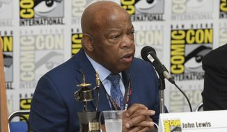 "Rep. John Lewis, D-Ga., participates in a panel for ""MARCH"" on day three of Comic-Con International on Saturday, July 22, 2017, in San Diego. (Photo by Al Powers/Invision/AP)"