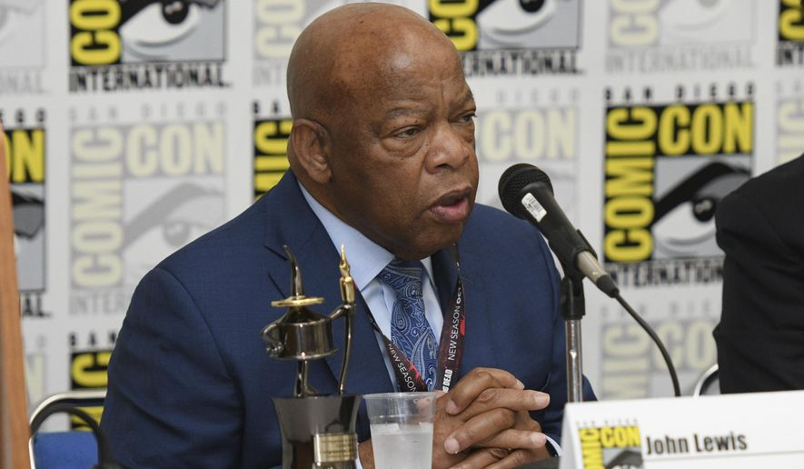 """Rep. John Lewis, D-Ga., participates in a panel for """"MARCH"""" on day three of Comic-Con International on Saturday, July 22, 2017, in San Diego. (Photo by Al Powers/Invision/AP)"""