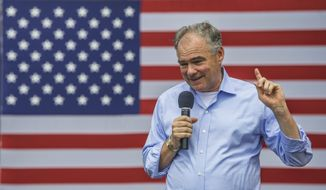 U.S. Sen. Tim Kaine, Virginia Democrat, speaks to supporters Saturday, July 22, 2017 on the campus of Roanoke College in Salem, Va. Local Democrats held a rally in support of the continuation of the Affordable Health Act.    (Don Petersen/The Roanoke Times via AP)